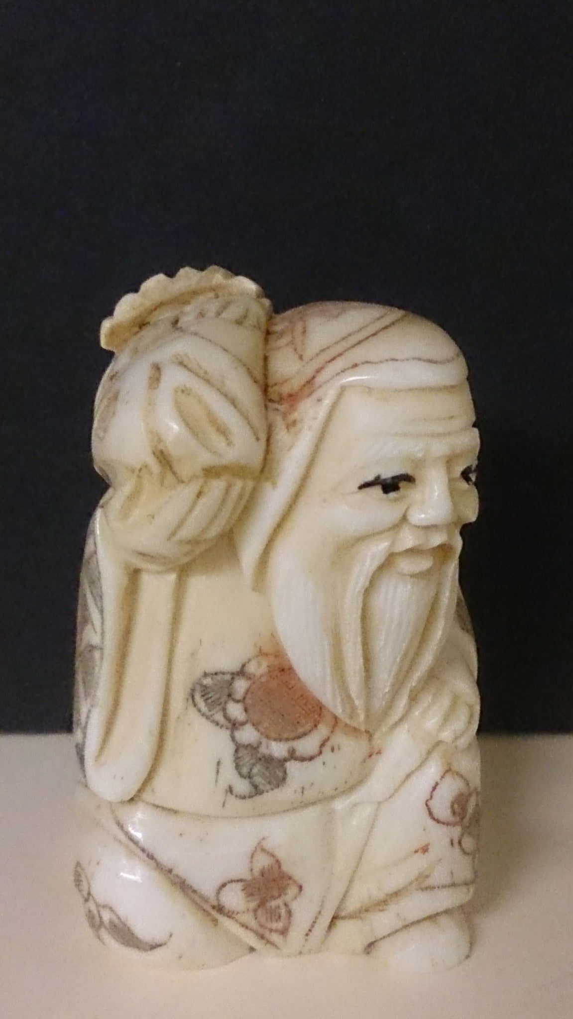 Netsuke Carved Bone A Bearded Old Man Holding A Fish Japanese Roadshow Collectibles