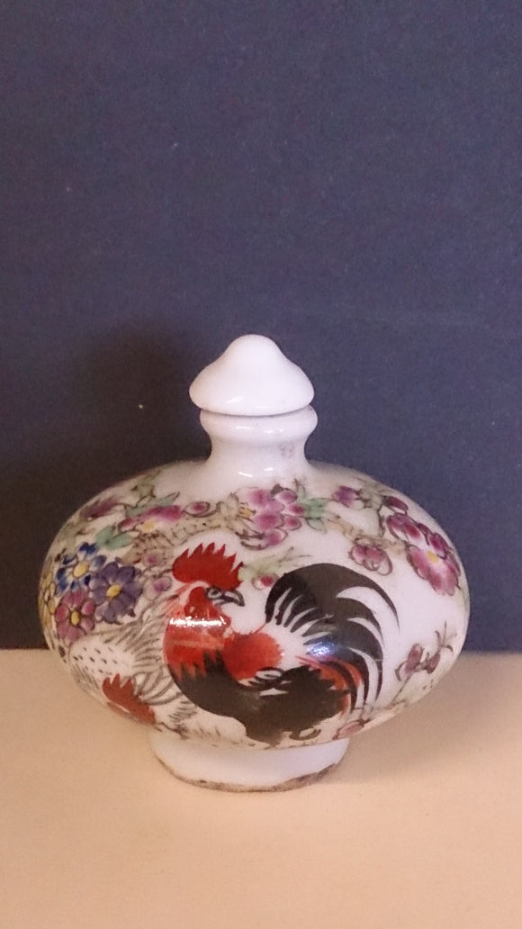 Snuff Bottle, Porcelain, Hand Painted, Flowers and Rooster, Chinese - Roadshow Collectibles