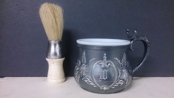 Victorian Repousse Shaving Cup & Shaving Brush, Glass Milk Liner - Roadshow Collectibles