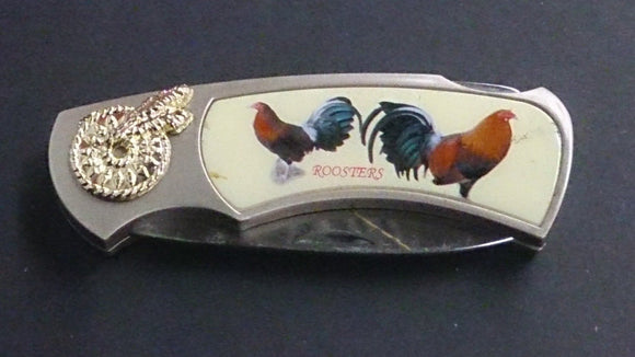 Folding Pocket Knife W/Two Roosters Pictured on Both sides of Handle - Roadshow Collectibles