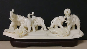 Group Of Elephants, Playing In The Jungle, Hand Carved Bone - Roadshow Collectibles