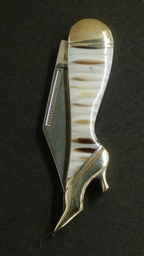 Cat Eye Folding Pocket Knife. Leg Shaped, Brown & White Striped Design - Roadshow Collectibles