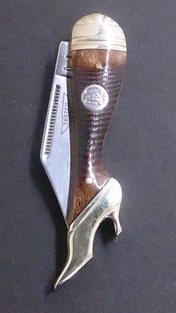 Rough Rider Folding Pocket Knife, Leg Shaped, Brown Textured Design - Roadshow Collectibles