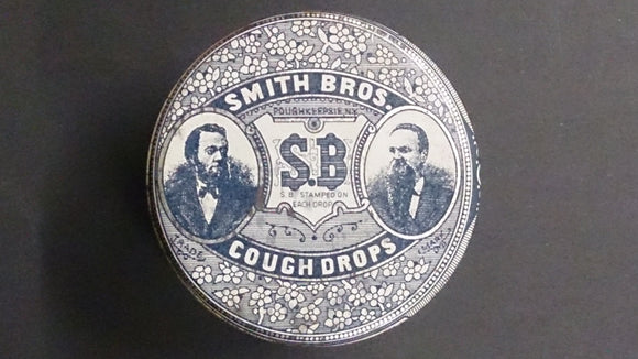 Smith Brothers Cough Drops Tin S.B Stamped On Each Cough Drop 10 cents - Roadshow Collectibles
