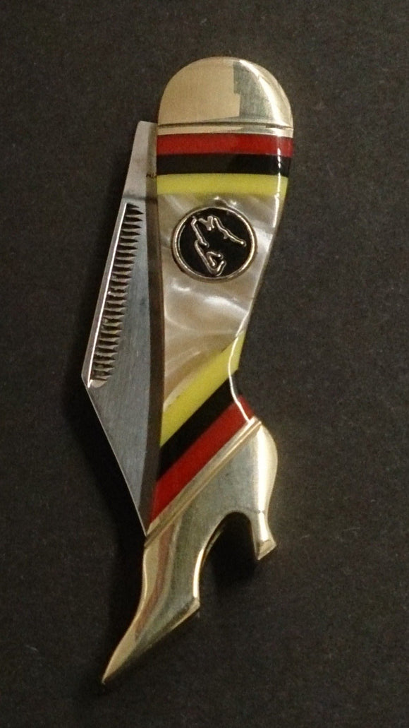 Timber Wolf Pocket Knife, Leg Shaped, Stripes and Marbled Design - Roadshow Collectibles