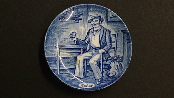 Enoch Wedgwood Blue and White Transferware Mini Plate, Sailor, England - Roadshow Collectibles