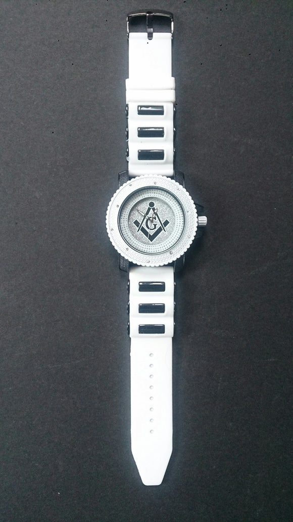 Studded White Masonic Men's Wristwatch - Roadshow Collectibles
