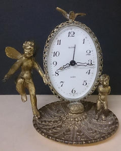 1930s/German Gold Gilt Globe Alarm Clock/Two Cherubin/Dove on Top - Roadshow Collectibles