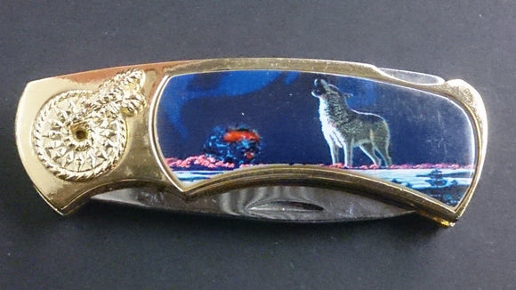 Folding Pocket Knife, Stainless Steel Locking Blade, On Handle a Wolf - Roadshow Collectibles