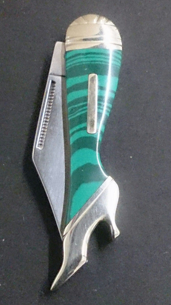 Rough Rider Pocket Knife, Leg Shaped, Lite & Dark Green Swirl Design - Roadshow Collectibles