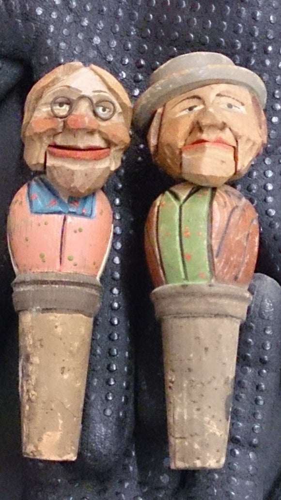 Pair of Folk Art Wood Carved Mechanical Male/Female Bottle Stoppers - Roadshow Collectibles