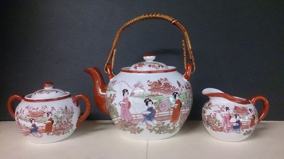 Early 20th Century Japanese Detailed Ceramic Kutani Tea Set - Roadshow Collectibles