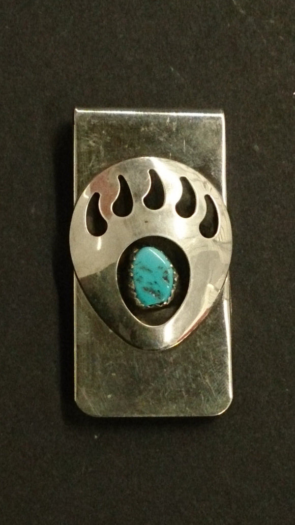 Navajo Sterling Silver Bear Paw Money Clip, Centered Turquoise Stone - Roadshow Collectibles