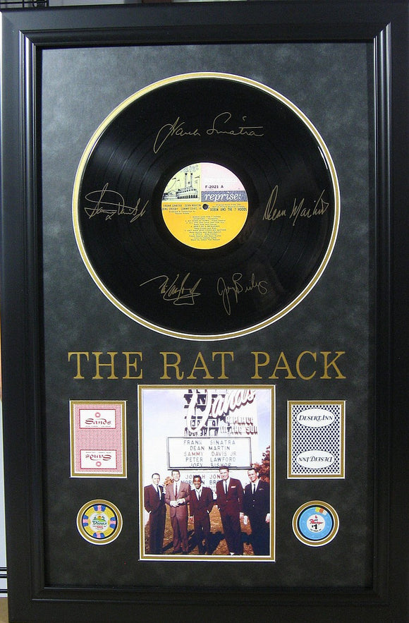 Rat Pack Album, Cards, Poker Chip's Framed with Engraved Signatures - Roadshow Collectibles