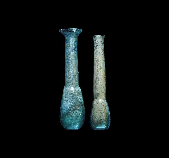 Ancient Roman Unguentaria Glass Pale Blue 2 Pieces 1st-2nd Century AD - Roadshow Collectibles