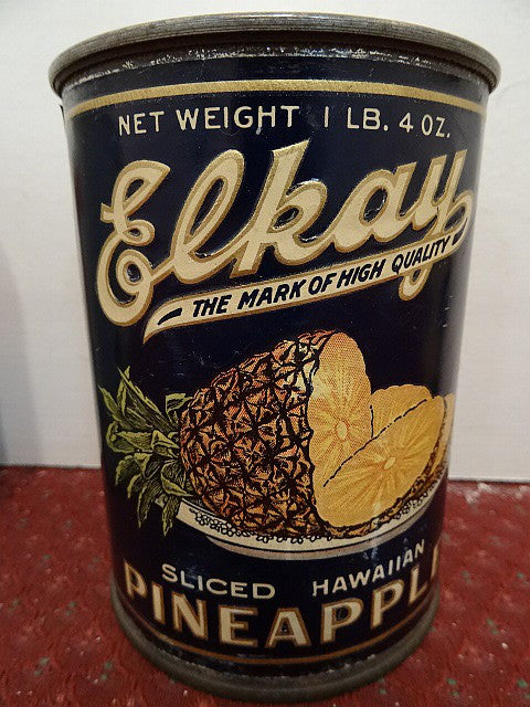 Salesman's Sample Tin Food Can Labeled 'Elkay' Brand Sliced Hawaiian Pineapple - Roadshow Collectibles