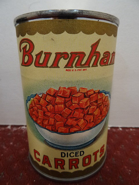 Salesman's Sample Tin Food Can Labeled 'Burnham' Brand Diced Carrots - Roadshow Collectibles