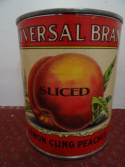 Salesman's Sample Tin Food Can Labeled 'Universal' Brand Sliced Lemon Cling Peaches - Roadshow Collectibles