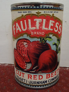 Salesman's Sample Tin Food Can Labeled 'Faultless' Brand Cut Red Beets - Roadshow Collectibles