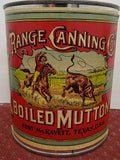 Salesman's Sample Tin Food Can Labeled 'Range Canning Co.' Brand Boiled Mutton - Roadshow Collectibles