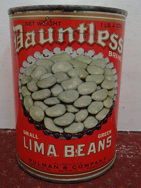 Salesman's Sample Tin Can Labeled 'Dauntless' Brand Lima Beans - Roadshow Collectibles