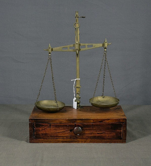 Apothecary Pharmacist Balance Scale Brass & Mahogany Basins 7 Weights - Roadshow Collectibles