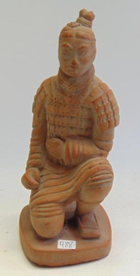 Chinese Kneeling Xian Terracotta Warrior Statue Signed - Roadshow Collectibles