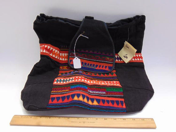 Tote Bag, Akha Tribe, Thailand, Handmade, Colourful Geometric Shapes - Roadshow Collectibles