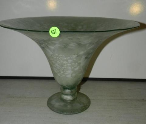 Hand Blown Studio Art Glass Vase, Horn Shaped Translucent Light Green - Roadshow Collectibles