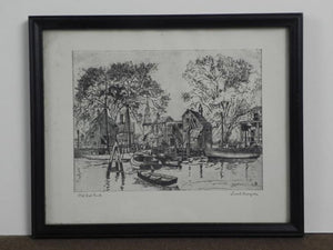 Lionel Barrymore, Etching Print, Old Red Bank, Framed and Matted - Roadshow Collectibles