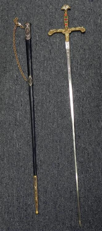 Spanish Sword, Leather Covered Scabbard, Glass Gem Stoned Grip Handle - Roadshow Collectibles