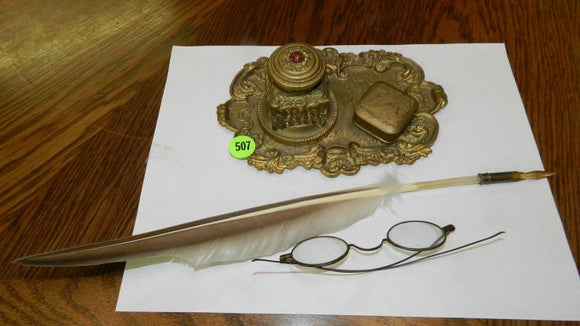Desk Inkwell/Quill Feather Pen/Benjamin Franklin Styled Glasses - Roadshow Collectibles