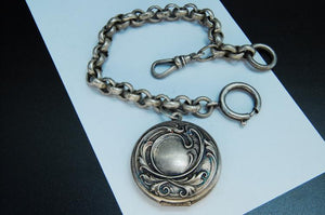 Victorian Repousse Sterling Silver Pocket Watch Chain and Locket Fob - Roadshow Collectibles