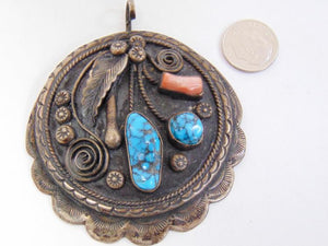 Sterling Silver Turquoise Coral Pendant - Roadshow Collectibles