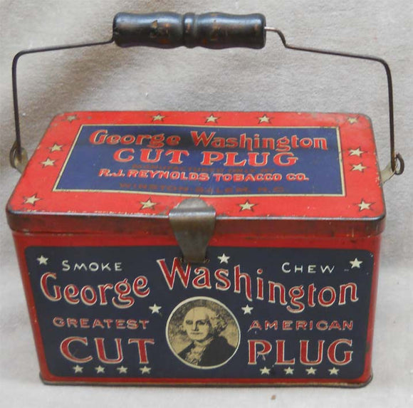 George Washington Lunch Box Cut Plug Tobacco Tin with Handle - 1910 - Roadshow Collectibles