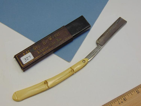 Holly Brooks Straight Razor W/Box Carved Ivory Handle Made in Germany - Roadshow Collectibles
