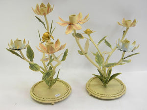 Pair of Metal Flower Theme Candelabra Matching Set Candle Stick Holders - Roadshow Collectibles