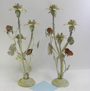 A Pair of Metal Rose Theme Candelabra Matching Set Candle Stick Holders - Roadshow Collectibles