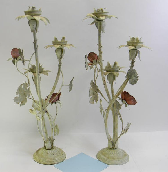 3 Light Candelabras Matching Set Decorated with Metal Roses and Leaves - Roadshow Collectibles