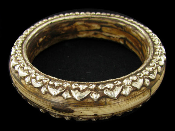 Excellent Tibetan Bone Silver Bangle Bracelet - Roadshow Collectibles
