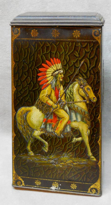 Tin Victory V Guns & Lozenges W/Native American Indian Riding a Horse - Roadshow Collectibles