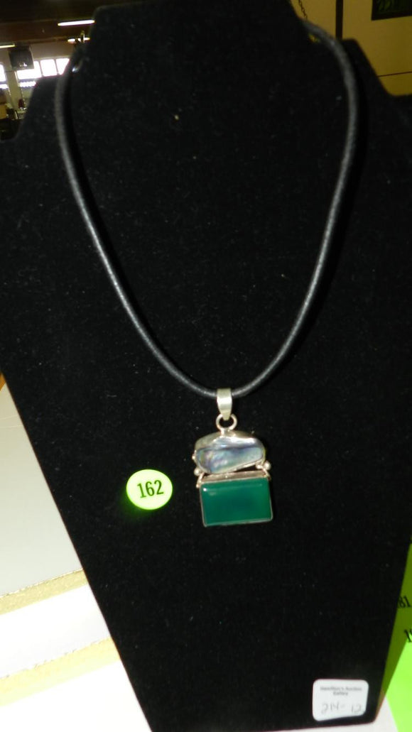 Necklace/Large Sterling Silver Pendant/Abalone and Green Gemstone - Roadshow Collectibles