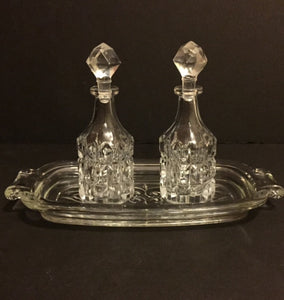 Crystal Oil & Vinegar Cruet Set with Tray, Diamond Shaped Pattern - Roadshow Collectibles