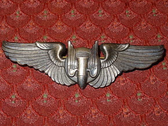 US Army Air Corps WW2 Sterling Silver Aerial Gunner's Wings Hat Pin - Roadshow Collectibles