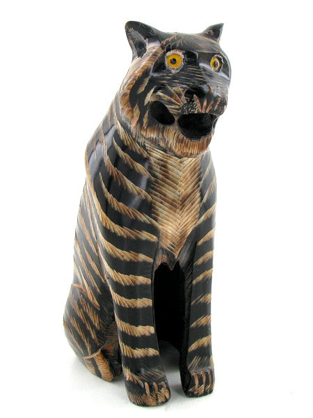 Scrimshaw Tiger Figure, I love the way the Carver used the Two Colors to bring out the Strips commonly seen on a Tiger, Carved from a Piece of Buffalo Horn - Roadshow Collectibles