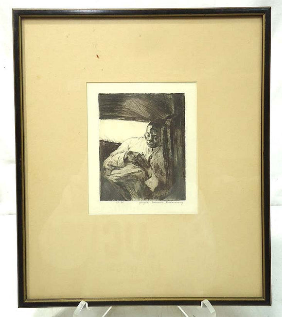 Yngve Edward Soderberg Etching, Black Male Sleeping, Framed and Matted - Roadshow Collectibles