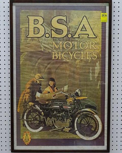 B.S.A. Motor Bicycles Poster, Framed, 1960's - Roadshow Collectibles