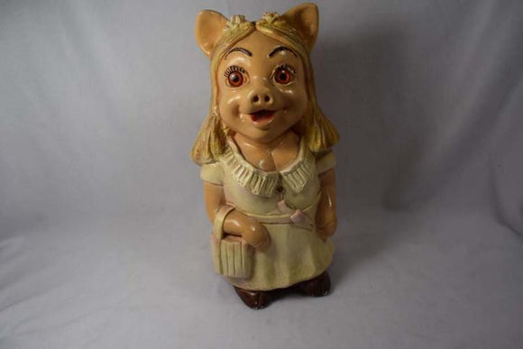 Ceramic Female Pig Still Bank Smiling Wide Eyes Dimples all Dressed Up - Roadshow Collectibles