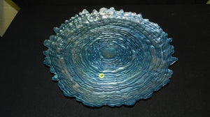 Studio Art Glass Platter, Cobalt Blue, Glass Pattern Ripples Of Water - Roadshow Collectibles