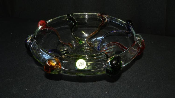 Murano Art Glass Style Bowl, Artisan Crafted, Thick Glass, 9 Colours - Roadshow Collectibles